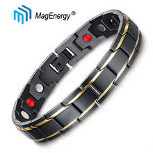 MagEnergy Men Bracelet Black Stainless Steel Bio Magnetic 4 in 1 Germanium Negative Ion Arthritis Pain Relief