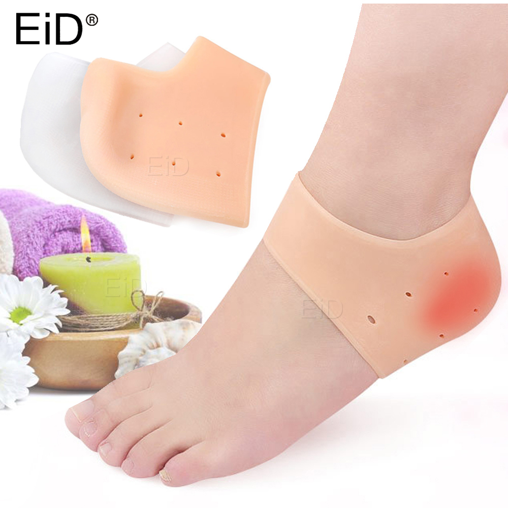 Silicone Gel Insoles Plantar Fasciitis Socks For Achilles Tendonitis Calluses Spurs Cracked Feet Pain Relief Heel Pads Cushion
