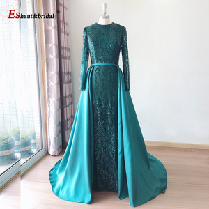 Image 2 - Elegant Evening Dress 2020 Muslim Long Sleeves Mermaid with Detachable Train Sequin One Shoulder Prom Party Gowns