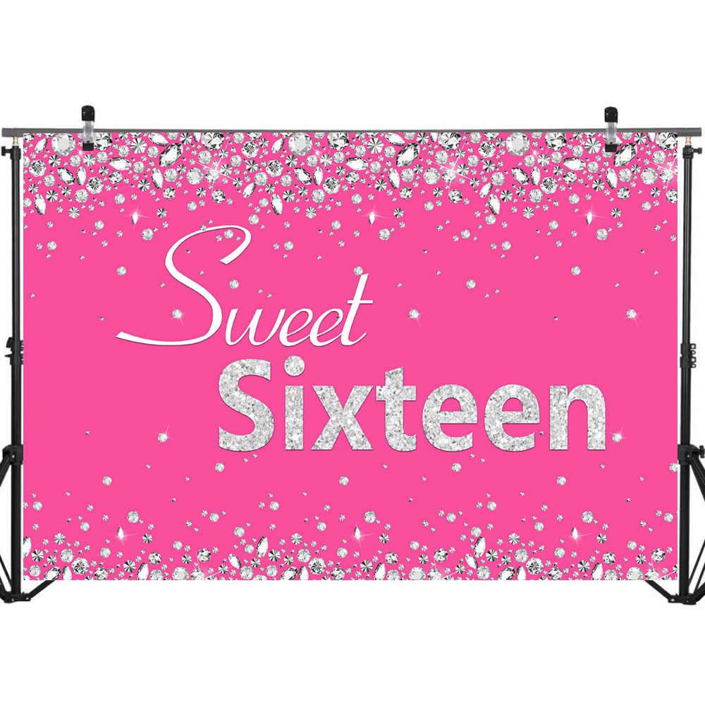 NeoBack Sweet Sixteen Geburtstag Hintergrund Diamant Tiefen Rosa Fotografie Hintergrund 16th Geburtstag Foto Requisiten Studio Booth Hintergrund