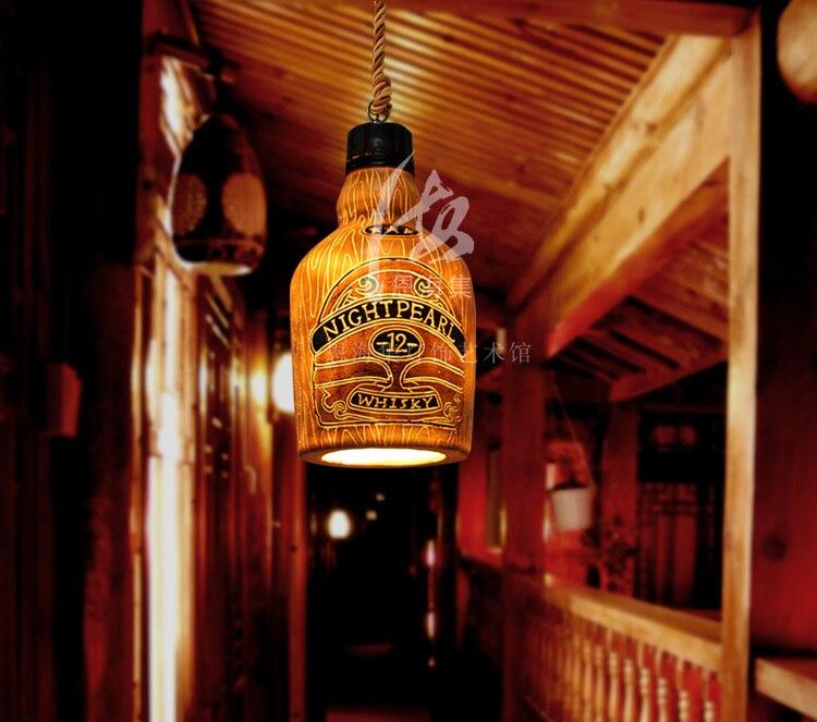Vintage Wine Bottle Pendant Light Suspension Luminaire Bar Entranceway Balcony Dia 21*h37cm lustre pendente|Pendant Lights| |  - title=