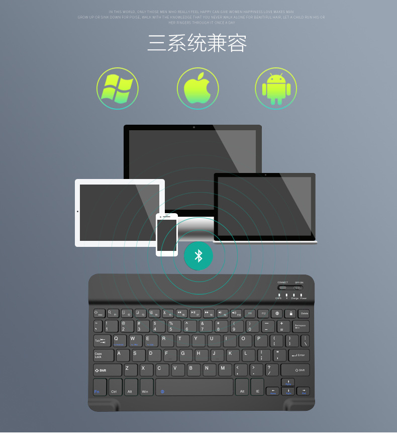 Ultra-Slim Cell Phone Mini Wireless Bluetooth Backlight Keyboard for Apple iPhone iPad Air Mini iOS Android Tablet PC Smartphone