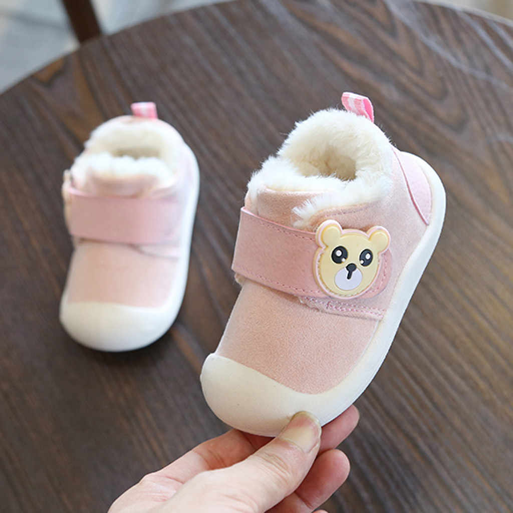toddlers boots and shoes girls plush snow boots boys Little Kids winter Shoes Warm Cartoon Kids Cotton Shoes #C