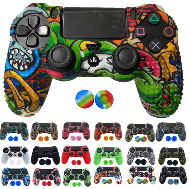 1PCS Anti-slip Silicone Cover Protect Skin Case For Sony Play Station Dualshock 4 PS4 Pro Slim Controller+2Thumb Grips Accessory