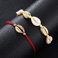 2Pcs Red Rope Shell Foot Chain Anklet Seaside Barefoot Women Fashion Jewelry Y4QB