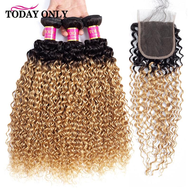 TODAYONLY Brazilian Kinky Curly Hair Bundles With Closure Blonde Bundles With Closure Ombre Human Hair Bundles With Closure Remy 3/4 Bundles with Closure     - title=