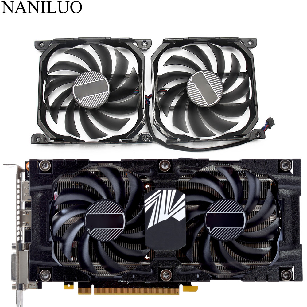 2pcs/set Inno <font><b>GTX1070TI</b></font>/1070 GPU VGA Card Cooler Cooling Fan Replacement For INNO3D <font><b>GEFORCE</b></font> GTX 1070 GTX1070 TI X2 V2 Graphics image