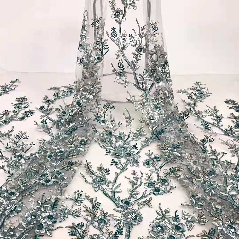 2020 Fashion Arrival African Lace Fabric Beautiful Embroidered With Sequins High Quality Swiss Voile Lace Fabric For Party Dress