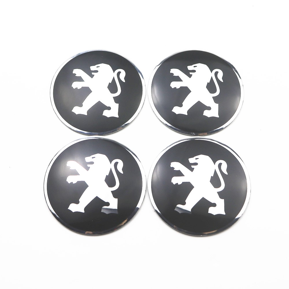 4Pcs Wheel Center Hub Cap Stickers 56.5mm Emblems For Peugeot 208 308 408 508 2008 3008 Car Styling