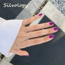 Silvology 925 Sterling Silver Pearl Smile Rings Original Minimalist Creative Chic Open Rings for Women Mori Style Party Jewelry(China)