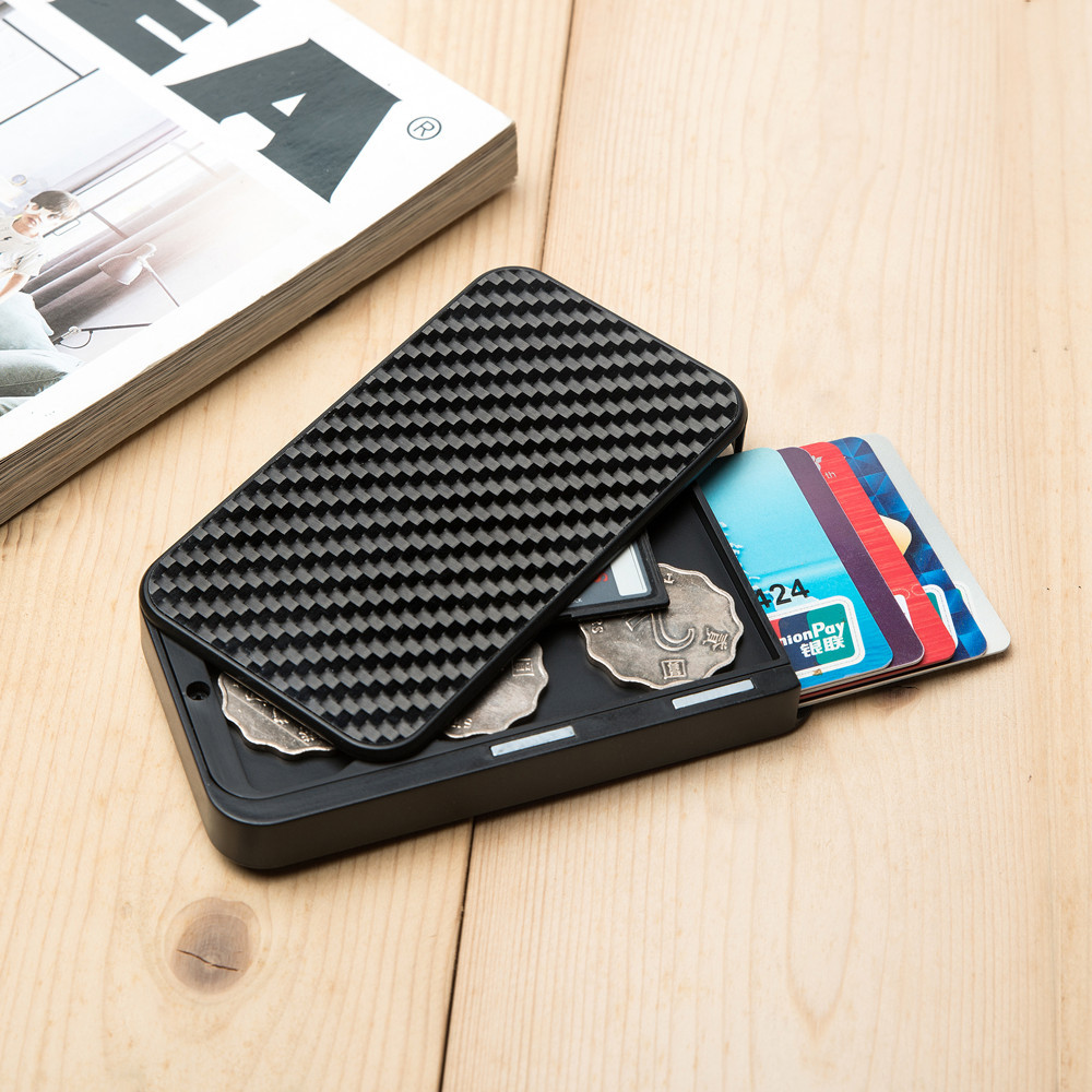 2020 Carbon Fiber Slim Wallet For Men Slim Credit Card Holder RFID Blocking Metal Wallet Purse Male Business Card Holder