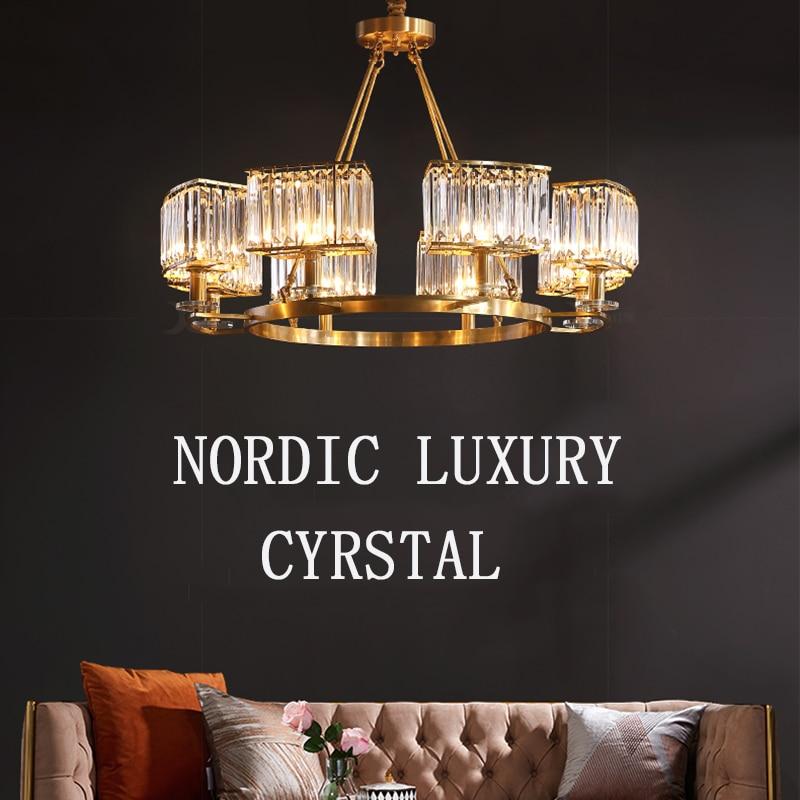 modern 100% copper luxury cyrstal chandelier hanging lamp bedroom hotel hall lighting glod kitchen E14 luminaire nordic light|Chandeliers| |  - title=