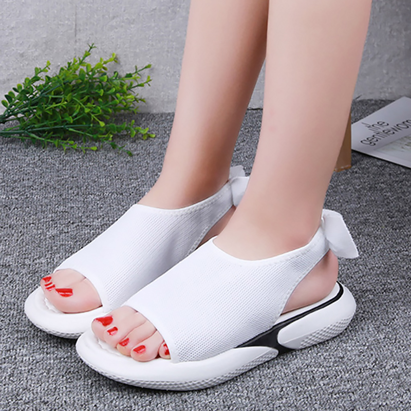 Cheap Women sandals 2020 Summer shoes Cusual Female platform sandal White Pink Butterfly-knot Nonslip Peep toe Comfort