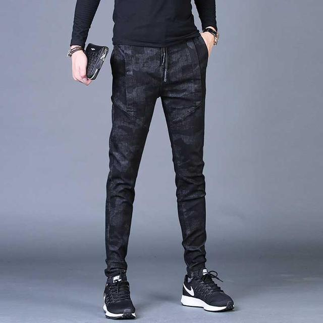 Free shipping new fashion men's male casual Original camouflage jeans men plus velvet autumn stitching pants Slim Korean C3129 64