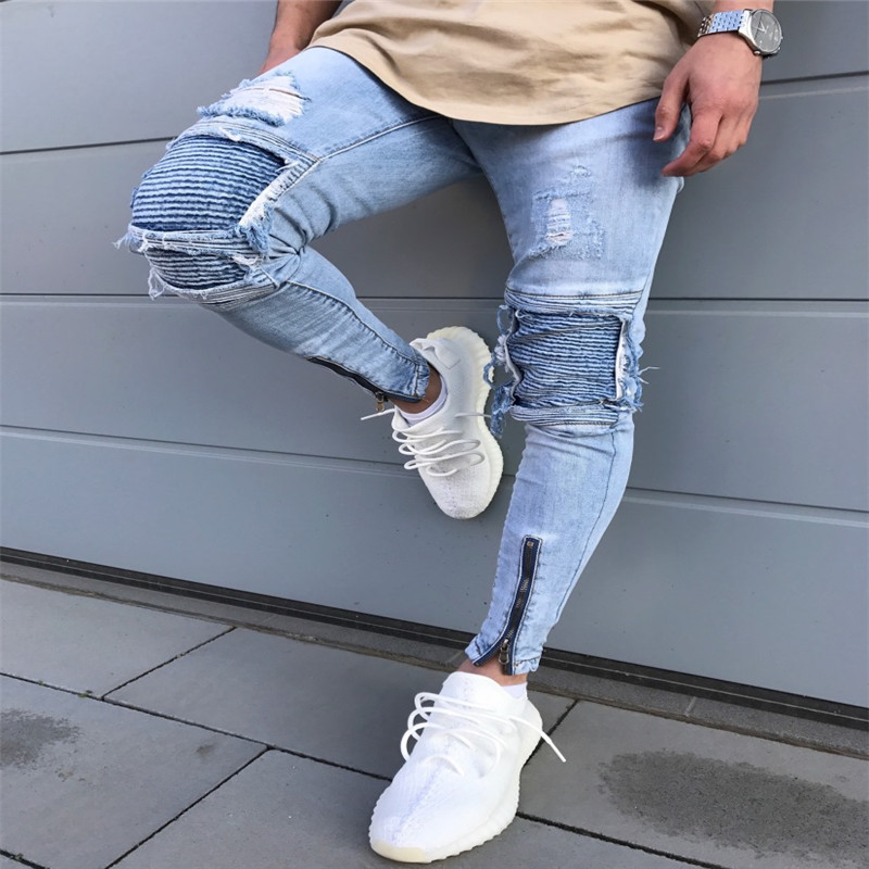 Men Stripe Hole Clothes Hip Hop Sweatpants Skinny Motorcycle Denim Pants Zipper Designer Black Casual Slim Jeans Mens Casual Jea
