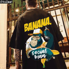 Camisa de manga curta dos homens de harajuku streetwear do hip hop moda solta estudante banana impressão t chimpanzé em torno do pescoço tshirt