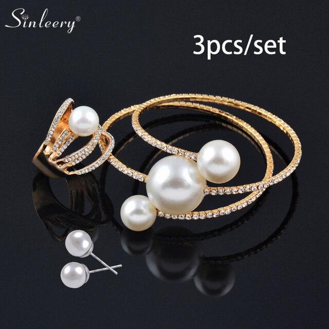 סט תכשיטים צמיד טבעת ועגילים SINLEERY  1