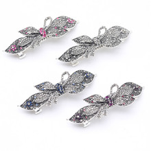 New 1 Pcs Retro Butterfly Crystal Hair Clip Classical Rhinestone Flower Hairpin  for women Cute  Accessories luxury rhinestone flower round hairpin for women