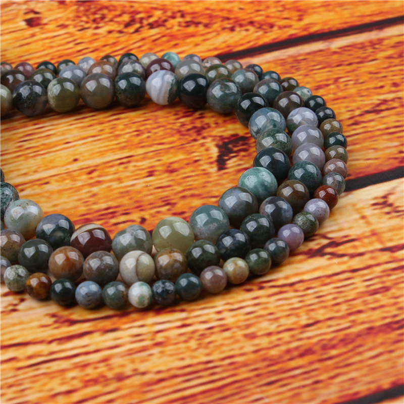 Agate Natural Stone Bead Round Loose Spaced Beads 15 Inch Strand 4/6/8/10/12mm For Jewelry Making DIY Bracelet