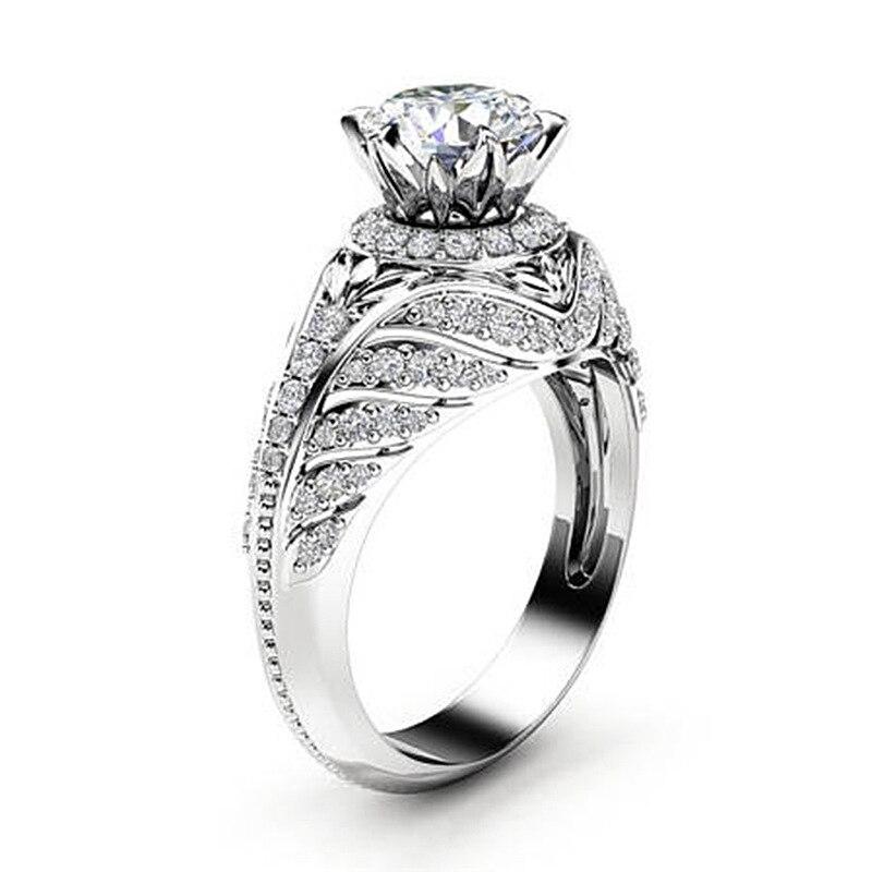 100% Настоящее 18 K Белое Золото Ювелирное кольцо для женщин натуральное VS2 бриллиантовое ювелирное изделие для женщин Anillos De Свадебные Bizuteria 18 K...