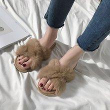 Liren 2019 Summer Home Slippers Women Casual Flip Flops Fashion Female Faux Fur Warm Indoor Fluffy Slides Shoes