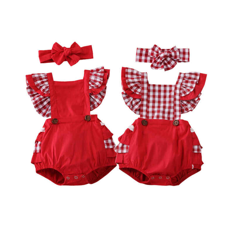 2pcs 유아 아기 소녀 xmas rompers 머리띠 2pcs backless ruffle sleeve plaids 인쇄 romper 전체 복장 sunsuit