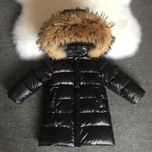 Abrigos de invierno de moda para chicas, chaquetas de plumas para niños, impermeables, medianos y largos, piel Real con capucha, 1 14 años, 2020
