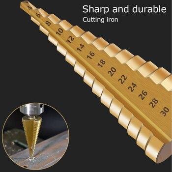 цена на 3pcs/Set HSS Steel Large Step Drill Bit Cone Titanium Coated Metal Drill Bit Cut Tool Titanium Coated Metal Drill Bit Cut Tool