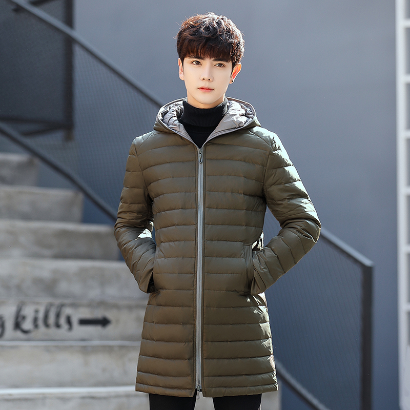 2019 Winter New Men's Down Jacket White Duck Down Jackets Casual Mens Down Jackets Medium-Long Coats Plus Size S-3XL