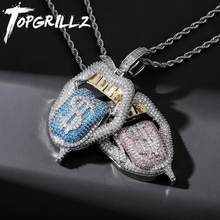 TOPGRILLZ nouveau cuivre de haute qualité glacé zircon cubique lèvres pendentif collier couleurs pierre avec chaîne de Tennis 4mm