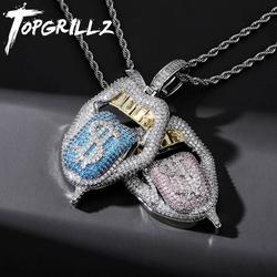 TOPGRILLZ New High Quality Copper Iced Out Cubic Zirconia Lips Pendant Necklace Colors Stone With 4mm Tennis Chain