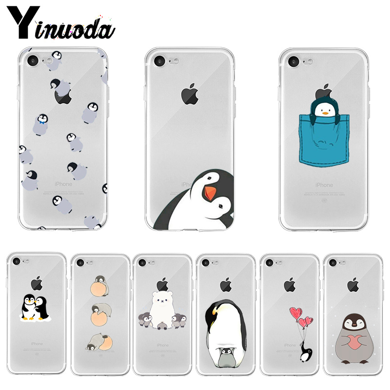 Yinuoda Cute Lovely Penguin Soft TPU Phone Case Accessories Cover for iPhone 8 7 6 6S Plus X XS MAX 5 5S SE XR 11 pro max