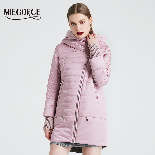 MIEGOFCE 2019 Spring Autumn Jacket With Oblique Cut Bright Women's Jacket Thin Cotton Coat Windproof Warm Knitted Sleeve Jacket 1