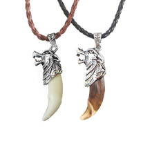 Necklace Jewelry Amulet Pendant Wolf-Head Stark Real-Wolf Fashion 1pc Tribal Fang