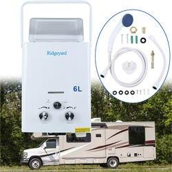 Calentador de Gas propano 6L LPG sin tanque con cabezal de ducha, calentador de agua caliente para acampar al aire libre