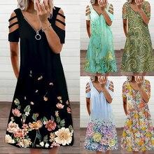 Zipper Floral Print Short Sleeve Dress Women Sexy Summer V Neck Casual Elegant Vintage Plus Size Hollow Out Dresses Streewear