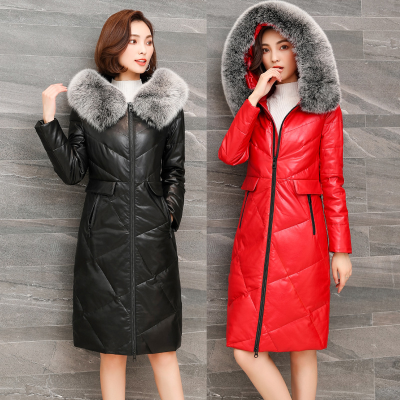 Genuine Sheepskin Leather Down Jacket For Women Winter Fox Fur Collar Hooded Long Coats Large Size Chaqueta Mujer KJ587