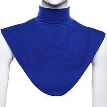 Mulheres muçulmano modal falso colar islâmico hijab extensões gola alta capa de pescoço mais quente brilhante cor sólida metade superior