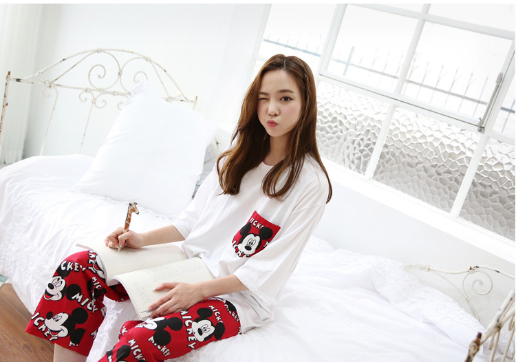 2019 Fashion Lovely Leisure Two Piece Set Mickey Printing Indoor Clothing Home Suit Sleepwear Winter Pajamas Woman Pijama Mujer 42