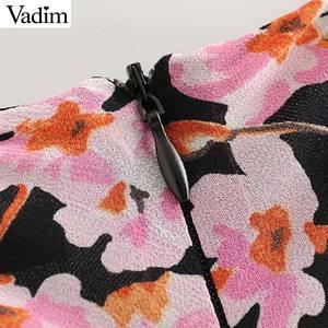 Image 4 - Vadim kadınlar zarif çiçek şifon maxi elbise ruffles O boyun uzun kollu geri fermuar ince fit kadın ayak bileği uzunluk elbise QC823