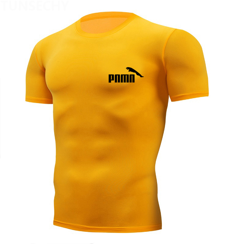 2020 Tight T Shirt Mens Short Sleeve Running Shirts Quick Dry Compression T-shirts Fitness Tights Sport Tees Men Gym Sports Wear