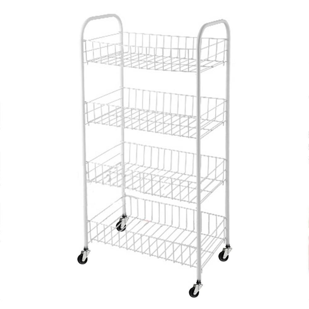 4-Tier Universal Kitchen Fruit Vegetable Rack On Wheels Deep Storage Stand Cart Trolley Bathroom Washroom Shelving Rack