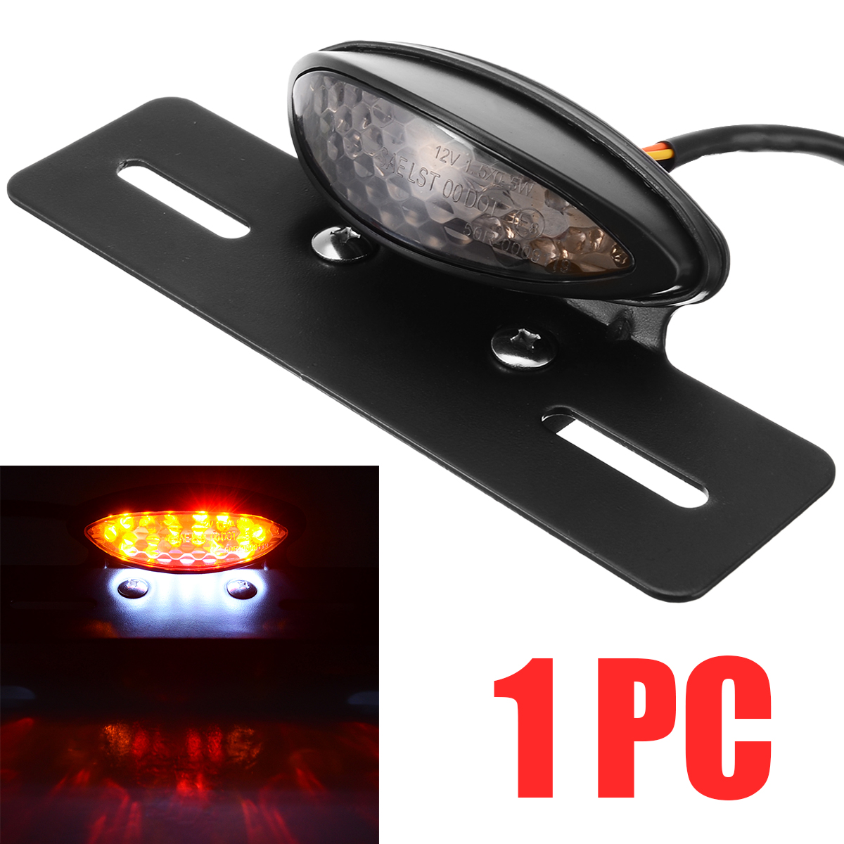 12V LED Motorcycle Bobber Red Yellow Rear Tail Light Brake Turn Signal License Number Plate Integrated Lamp For Dirt Bike ATV