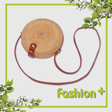 3 colors Round Retro Style Straw Women Rattan Shoulder Bags round rattan bag Handmade Woven Bohemia Crossbody New Fashion