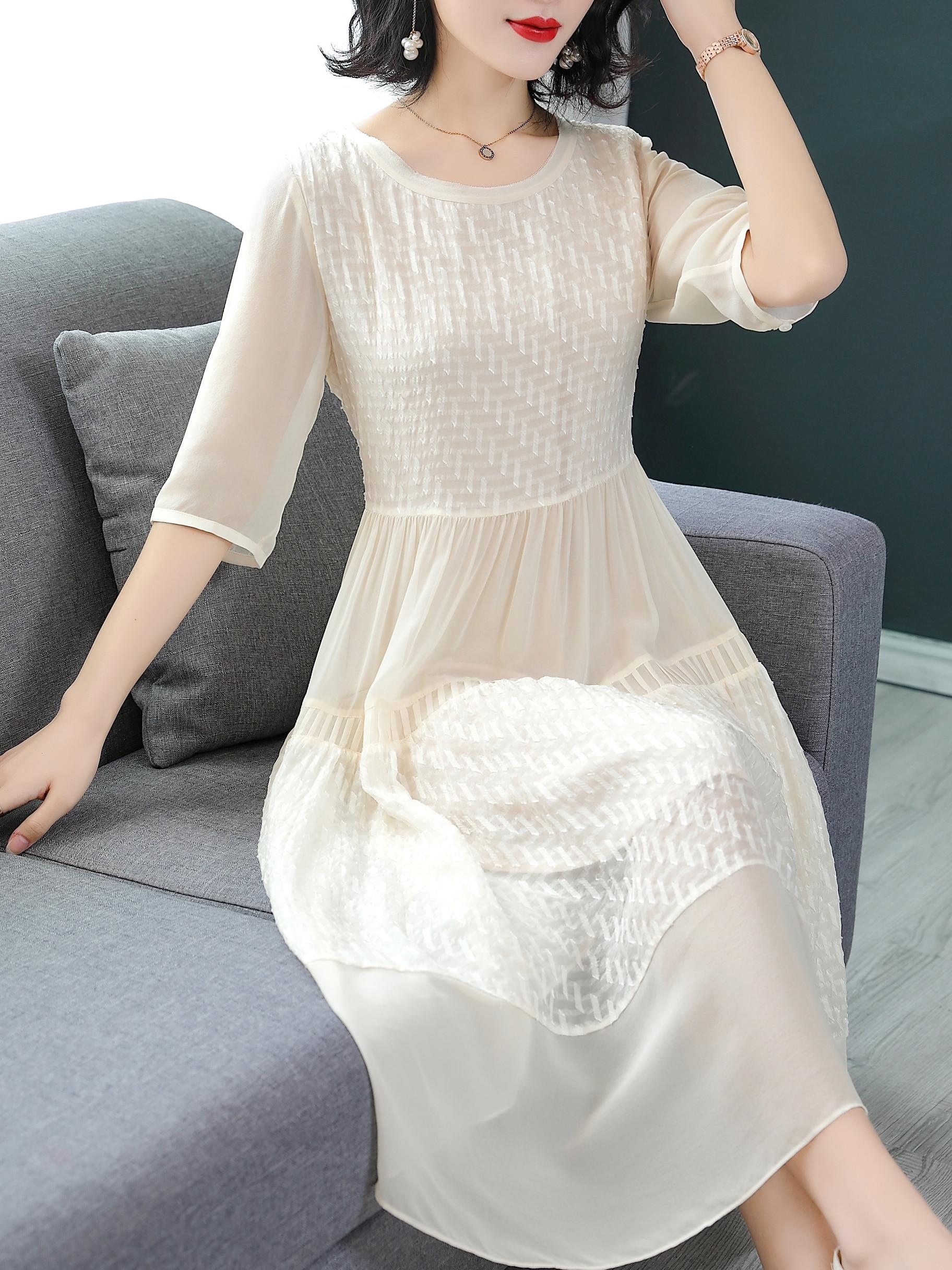100 echte seide sommer kleid frauen kleidung vintage elegante maxi kleid  2020 damen kleider weiß büro frauen kleid vestidos b0623