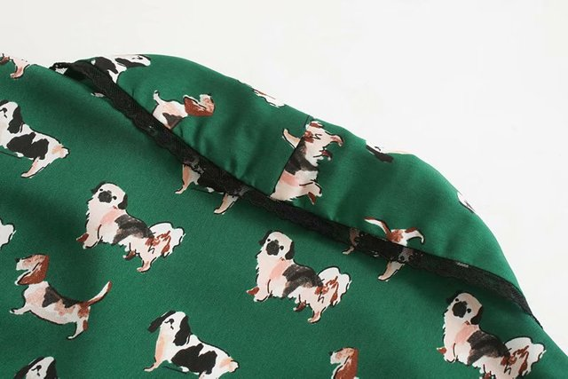 Women's Casual Dog Patterned Blouse