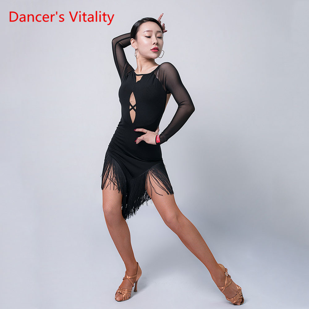 Latin Dance Skirt Female Adult Sexy Tassel Dress Winter Competition Dancing Clothing Professional Practice Clothes