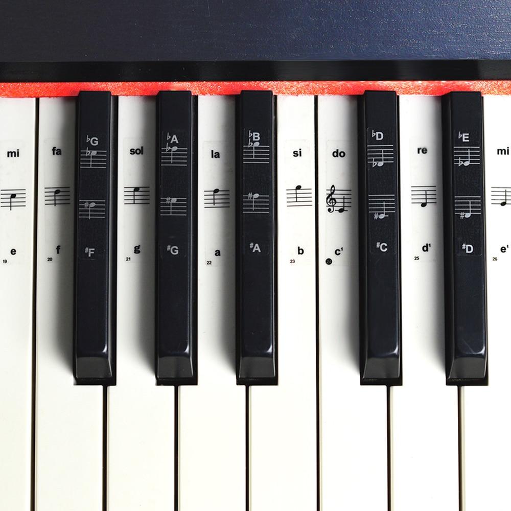 54/_ _ _ _ _ _ _ _ _ _ _ _ _ _ _ _ _ _ _ _/88 Anahtar Piyano çıkartmalar şeffaf Piyano Klavyesi PVC Etiket Piyano çıta Elektronik Klavye Adı Not Sticker Aksesuarları