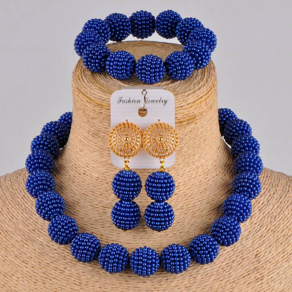 Royal Blue Simulated Pearl Europe And America Party Jewelry Necklace African Beads Jewelry Set Zds01 Jewelry Sets Aliexpress