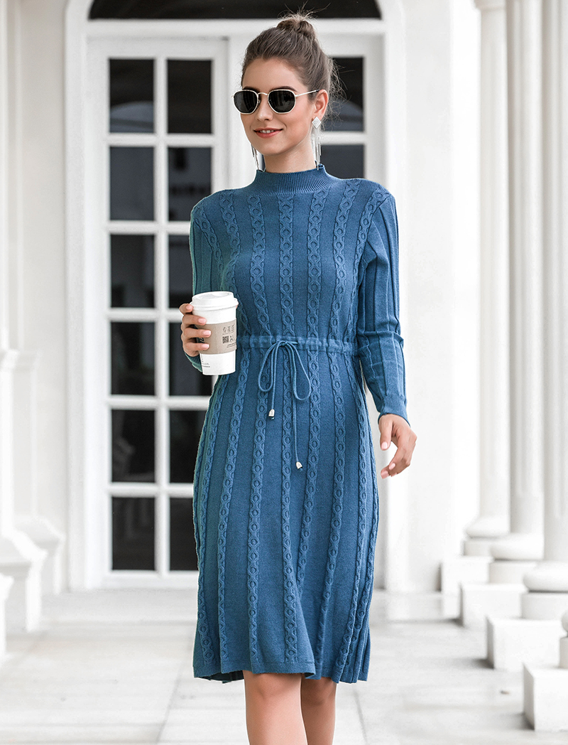 Autumn Winter Dresses 2019 New Arrival Fashion Casual Knee Length Knitted Dress Ladies Long Sleeve Sweater Dresses Black Blue 80